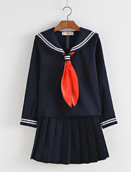 Cosplay Costumes Student/School Uniform Sailor/Navy Festival/Holiday Halloween Costumes Black Ink Blue Solid Cravat Top SkirtHalloween