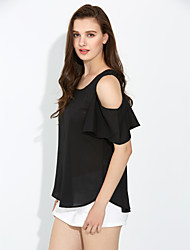Women's Off The Shoulder Spring Fashion Sexy Strapless Round Neck ½ Length Sleeve Solid Color Chiffon Shirt Blouse Tops