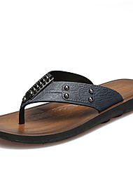 Men's Slippers & Flip-Flops Spring Summer Comfort PU Casual Flat Heel Beading Dark Brown Blue Yellow