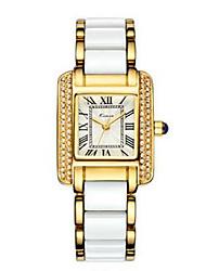Mulheres Relógio de Moda Chinês Quartzo Cerâmica Banda Preta Branco