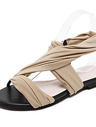 Women's Sandals Summer Comfort Fabric Dress Flat Heel Ribbon Tie Almond Black