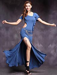 Dança do Ventre Roupa Mulheres Actuação Modal Vazado 2 Peças Manga Curta Natural Vestido Calções