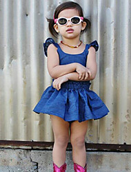 Girl's Dress Others Summer Sleeveless Cowboy Backless Dresses Kids Baby Clothes