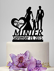 Personalized Acrylic Couple And One Boy Wedding Cake Topper