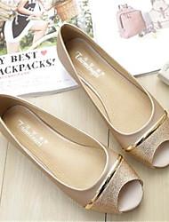 Damen-Sandalen-Lässig-PUKomfort-Gold Weiß Schwarz