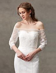 Women's Wrap Shrugs Lace Wedding Button Lace