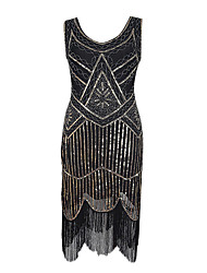 Latin Dance Dresses Women's Performance Sequined Sequin 1 Piece Sleeveless Natural Dress