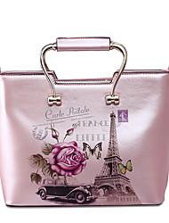 New Fashion Business Casual Lady Floral Print PU Shoulder Bag Black
