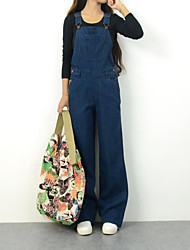 Women's Mid Rise Inelastic Overalls Pants Loose Solid