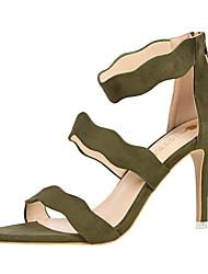 Для женщин Сандалии Удобная обувь Замша Лето Для праздника На шпильке Серый Желтый Красный Зеленый Розовый 7 - 9,5 см