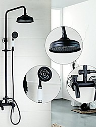 Antique Centerset Rain Shower with  Ceramic Valve Two Handles Three Holes for  Oil-rubbed Bronze  Shower Faucet