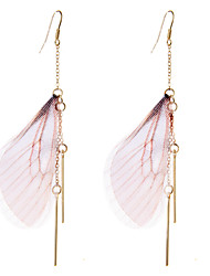 lureme® Drop Earrings Jewelry Animal Design Stretch Luxury Multi-ways Wear Africa Simple Style Feather Alloy Wings / Feather Jewelry For