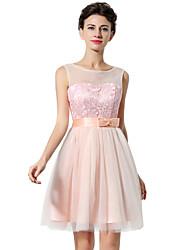 Коктейльное платье - короткий короткий рукав короткий / мини-тюль с бантиком / печать