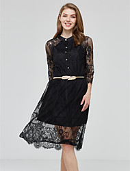 Women's Lace Vintage/Sexy/Casual/Lace/Cute/Party/Work Micro-elastic ½ Length Sleeve Midi Dress (Lace)