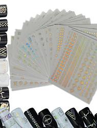 24pcs / set nouveau mode laser brillant joli motif décoration ongle art 3d arc-en-ciel design coloré pour la beauté de l'art des ongles
