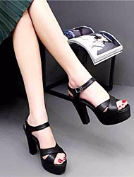 Women's Heels Spring Club Shoes PU Casual Dark Green Black White