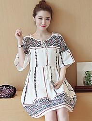 Для женщин На выход На каждый день Простое Очаровательный Шинуазери (китайский стиль) Свободный силуэт Платье Цветочный принт,Круглый