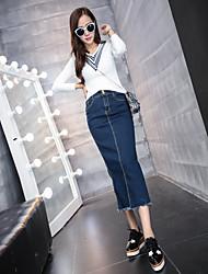 Women's High Rise Midi Skirts,Sexy Bodycon Denim Solid