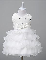 Robe de Soirée Mi-long Robe de Demoiselle d'Honneur Fille - Dentelle Organza Satin Col en V avec Noeud(s) Détail Cristal Ceinture / Ruban
