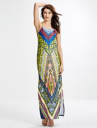 Women's Boho|Backless Going out Vintage Backless Slim Split Sheath Dress,Print Strap Maxi Sleeveless