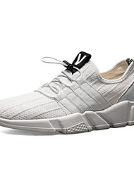 Men's Sneakers Spring Fall Comfort PU Tulle Outdoor Athletic Casual Lace-up Gray Black White
