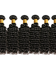 Top Grade 6Pcs/Lot 8-26inch Brazilian Virgin Deep Wavy Hair Natural Black Curly Human Hair Weaves Hot Sale.