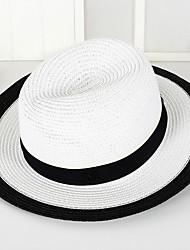 British Summer Straw Hat Cap Patchwork Round Wide Brim Hawaii Folding Soft Sun Hat Casual Foldable Brimmed Beach Hats For Women