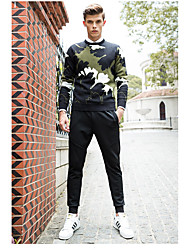 Men's Plus Size Casual/Daily Holiday Simple Active Punk & Gothic Regular Pullover,Jacquard Embroidered Camouflage Round Neck Long Sleeve