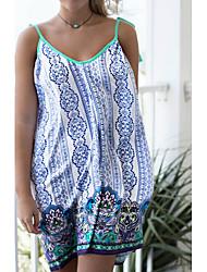 Women's Beach Holiday Boho Summer Tank Top,Print V Neck Sleeveless Rayon Thin