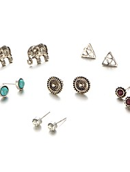 6Pcs/set Stud Earrings Unique Design Elephant Animal Design Alloy Jewelry For Party Daily Casual 1 Set
