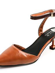 Women's Sandals Summer Comfort PU Outdoor Block Heel Buckle Ribbon Tie Dark Brown Beige Walking