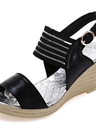 Женские сандалии летние ползунки pu открытый атлетический клин каблук пряжка лента галстук серебро черный ходьба