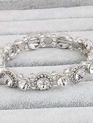 Women's Tennis Bracelet Crystal Movie Jewelry Crystal Circle Silver Jewelry For Wedding 1 Set