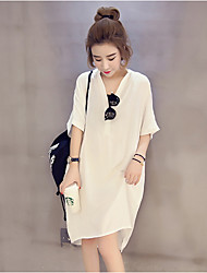 Women's Casual/Daily Simple Loose Dress,Solid V Neck Midi Polyester Summer Low Rise Inelastic Thin