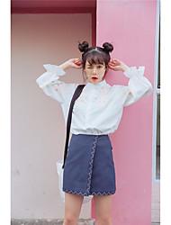 Feminino Camisa Social Casual SimplesFloral Algodão Colarinho Chinês Manga Longa
