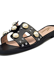 Women's Flats Summer Comfort PU Casual Flat Heel Pearl Beige Black White Walking