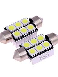 Ziqiao blanc 39mm 5050 6 smd led c5w voiture conduit auto intérieur dôme porte ampoule lampe éclairage lampe de travail (12v / 2pcs)
