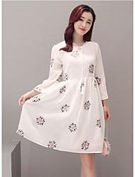 Women's Casual/Daily Simple Loose Dress,Polka Dot Round Neck Knee-length ½ Length Sleeve Cotton Summer Mid Rise Micro-elastic Medium