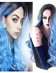 New Long Teal Blue Fashion Black to Blue Ombre Hair Natural Looking Popular Design Body Wave Synthetic Wig Heat Resistant