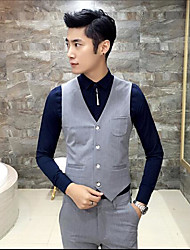 Men's Casual/Daily Simple Tank Top,Solid Shirt Collar Long Sleeve Acrylic