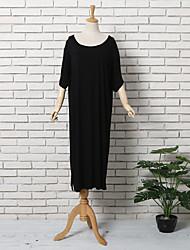 Tee Shirt Robe Femme Décontracté / Quotidien simple,Couleur Pleine Col Arrondi Midi Manches Courtes Modal Eté Taille Haute Elastique Fin