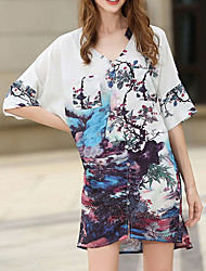 Women's Casual/Daily Simple Loose Dress,Print V Neck Above Knee ½ Length Sleeve Polyester Summer Mid Rise Inelastic Thin
