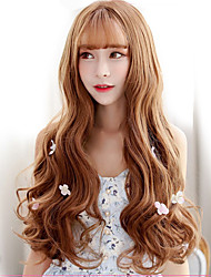 Japan and South Korea fashion life gold brown natural wave natural song high temperature wire wig