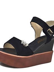 Damen-Sandalen-Lässig-Wildleder-Keilabsatz-Komfort-