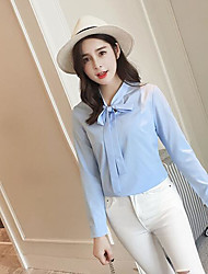 Women's Casual/Daily Simple Shirt,Solid Round Neck Long Sleeve Silk