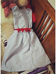 2015 summer blue and white striped navy wind sleeveless vest dress waist bow skirt summer