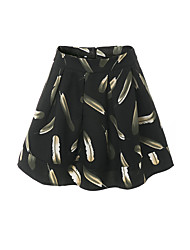 Women's High Rise Above Knee Skirts A Line Animal Print