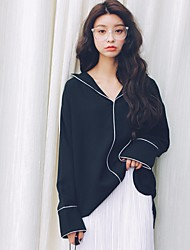 Women's Going out Sexy Blouse,Solid Shirt Collar Long Sleeve Cotton Modal