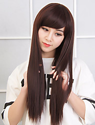Long Straight Synthetic Wigs Light Brown Synthetic Hair Wigs Heat Resistant Cosplay Wig