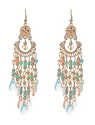 6 Colors 2017 Fashion Bohemia Water Drop Tassel Earrings Charm Gem Long Earrings For Women Wedding Jewelry